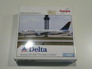Herpa Delta Air Lines 767-200 Spirit of Delta Die Cast Model  1:500 scale =