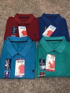 NWT Men's Izod Polo Shirt Blue, Green, Maroon, Turquoise Size L, XL, XXL