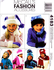 2003 Girls Boys Fleece Hats Scarf Mittens Sewing Pattern McCall's 4183 New OOP