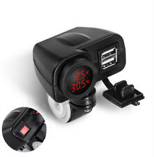 Red LED 12V Motorcycle USB Charger 2.1A+2.1A w/ Digital Voltmeter + Thermometer