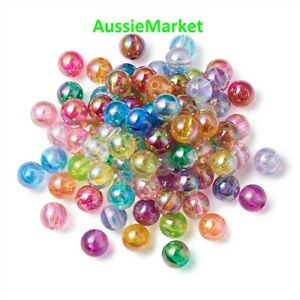 50 x colourful beads transparent acrylic plastic 8mm jewellery mixed colours new