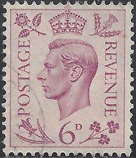"""Great Britain Stamp - Scott #243/A102 6p Rose Lilac """"George Vi"""" Canc/Lh 1939"""