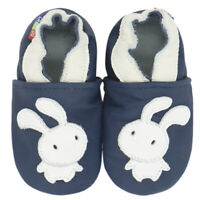 carozoo bee light blue 3-4y soft sole leather baby shoes