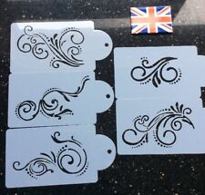 5 Piece Decorative Scrolls Stencils For Cake Decorating