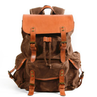 Vintage Men's and Women's Waterproof Canvas + Oil Wax Leather Backpack