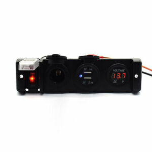 Rocker Switch Panel Car Cigarette Lighter Power Socket RV Voltmeter 2USB Port