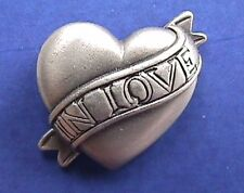 Avon Pin Valentines Vintage Heart Pewter Banner In Love Holiday Brooch