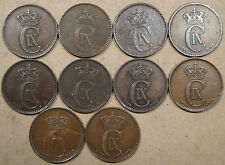 Denmark 10 2 Ore 1874,75,81,83,89,91,94,97,99/7,+1906 Some are better grades