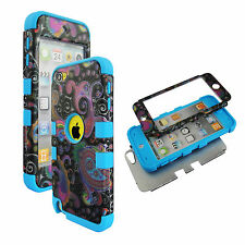 Hybrid  Black Paisley Blue Strip For  Apple Ipod Touch 5 5th Gen  Case Cover