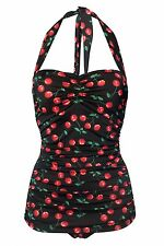 Esther Williams Swimsuit Black Cherry Retro Pin Up Size 6 Made in USA