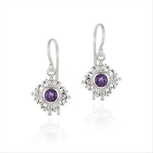 Sterling Silver Amethyst Filigree Dangle Earrings
