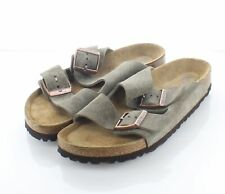 03-41 $135 Women's Sz 7 N Birkenstock Arizona Suede Soft Footbed Sandal In Taupe