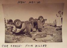 "VINTAGE NM CAR CRASH ""FOUR KILLED"" STYLE OF WEEGEE KS LICENSE PLATE OLD PHOTO"