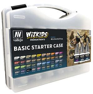 Vallejo 80260 Wizkids Basic Starter Case Acrylic Paint Set (40 Colour Set)