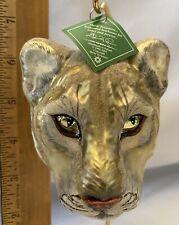 Mountain Lion Head Glass Ornament Slavic Treasures