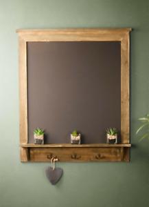 Shabby Chic Blackboard Vintage Chalk Board Rustic Wood Notice Metal Hooks Shelf