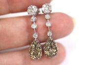 2 ctw Natural Brown Diamond 14k White Gold Bezel Tear Drop Dangle Earrings 31 MM