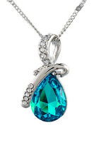 1PC Ladies Eternal Love Angel Teardrop Elements Crystal Pendant Chain Necklace