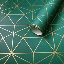 Metro Prism Tapete Dreieck Geometrisch WOW037 Gold / Smaragdgrün Luxus