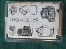 Stampin Up - TRAVEL POST - 9 rubber UNMOUNTED Wood stamps luggage room key stamp
