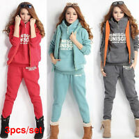 3PCS/Set Women Tracksuit Coat+Pants+Vest Sport Suit Letter Hoodie Sweatshirt