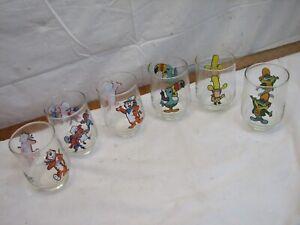 6 Vintage Kelloggs Cereal Collector 1977 Drinking Glasses Tumbler Big Yella Tony
