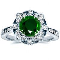 Flower Women's Wedding Rings 925 Silver Jewelry Emerald Ring Size6-10