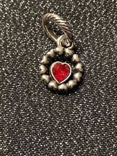 Brighton RING OF LOVE  Red Heart Silver Swarovski Crystals Charm RETIRED