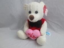 KIDS OF AMERICA WALMART PINK KISS HEART WHITE TEDDY BEAR BLACK BOWTIE 2012 PLUSH
