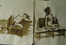 Walnut Ink Painting Original Art Nude Naked Woman Girl 2 Pieces Figure  Model