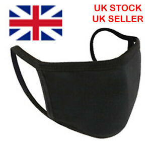 Face Mask cotton washable double-layer reusable black adult and child sizes