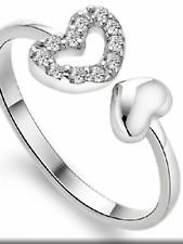 925 silver cute diamanté heart dainty adjustable ring jewellery present gift