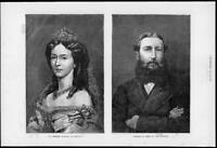 1872 Antique Print Portraits - Empress Augusta Germany Leopold King Belgium (230
