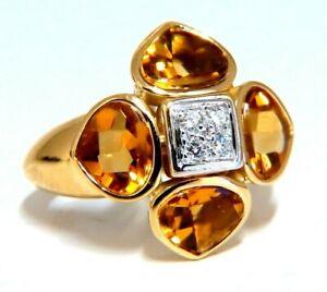 4.10ct Natural Citrine Diamonds Ring 18kt