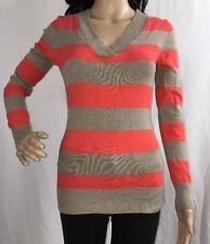 XS Gap Sweater Salmon Orange And Pale Brown Striped Lightweight Cotton Blend