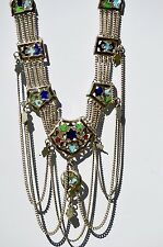 Art Deco Blue and Green Enamel Tribal Necklace Sagaofluck