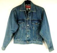 Wrangler Hero Men's Blue Jean Trucker Jacket  Denim Coat Size Small Vintage