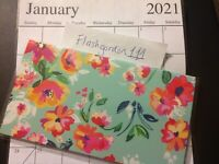 1 ~ 2020-2021 GREEN FLORAL Two Year Planner Pocket Calendar 2 Year Datebook Gift