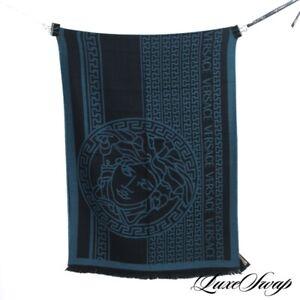 NWT Versace Made in Italy Black Teal Medusa Greek Key Wool Knit Logo Scarf NR