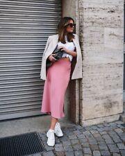 Zara Pink Satin Midi Skirt. Size L
