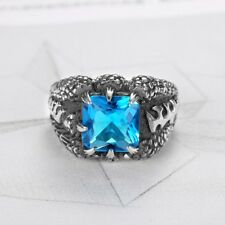 Vintage Mens Blue Aquamarine Gothic Dragon Claw Silver Stainless Steel Ring 7-15