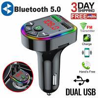 Car Wireless Bluetooth FM Transmitter MP3 Radio Adapter QC3.0 Fast USB Charger