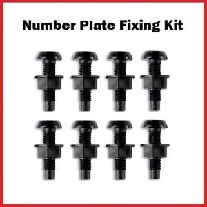 8 Black Plastic Number Plate Screws & 8 Black Nuts Bolts Fixings Fittings Fixers