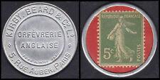 RARE FRANCE TIMBRE MONNAIE 5 C VERT SEMEUSE  : KIRBY BEARD ORFEVRERIE ANGLAISE