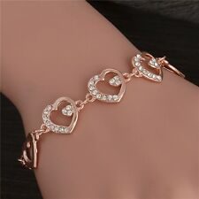ROSE  GOLD PLATED MADE WITH SWAROVSKI CRYSTALS HEART BRACELET XMAS MOTHER GIFT