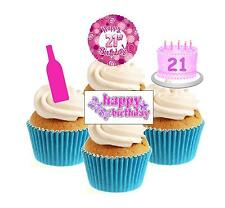 Novelty 21st Birthday Mix Female 12 Edible Stand Up wafer paper cake toppers