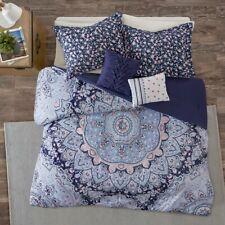 Full/Queen New Odette Boho Comforter Set Micro Fiber Blue Intelligent Design 334