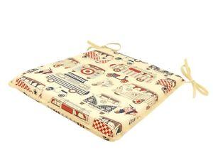Campervan Tapered Tie-On Seat Pad. Garden/Patio/Kitchen/Dining
