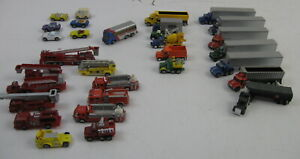 Lot of 31 Vtg N Scale Mixed Fire Trucks, Tractors, Trailers, Cars, Bus,  etc GUC