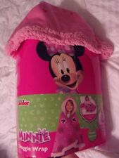 Disney Minnie Mouse Pink Snuggle Wrap Blanket ~ Kids Hooded Cape ~ Warm & Fuzzy